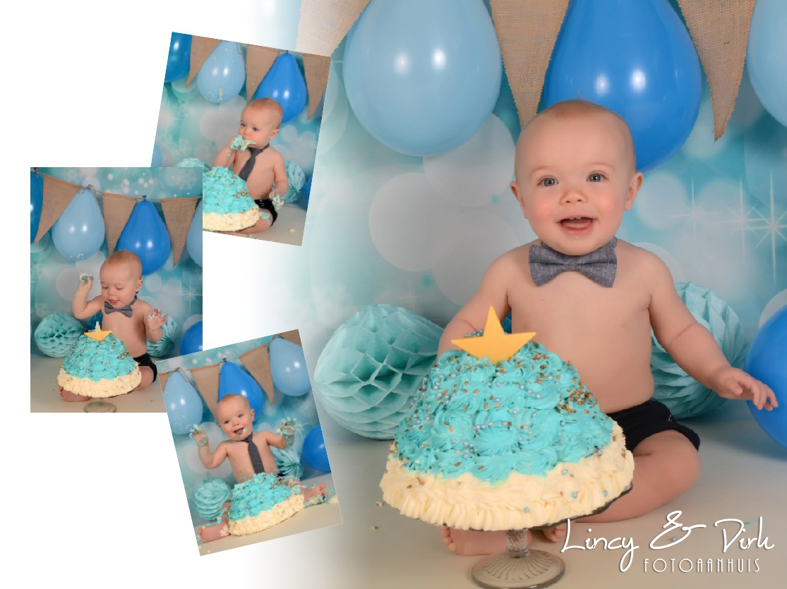 Smash Cake Baby fotoshoot bij Fotoaanhuis Te Waregem tussen Gent en Kortrijk